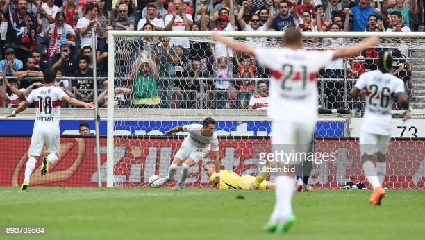 FUSSBALL 1 BUNDESLIGA SAISON 2015/2016 Testspiel VfB Stuttgart Manchester City Daniel Ginczek erzielt das tor zum 39 gegen Torwart Joe Hart