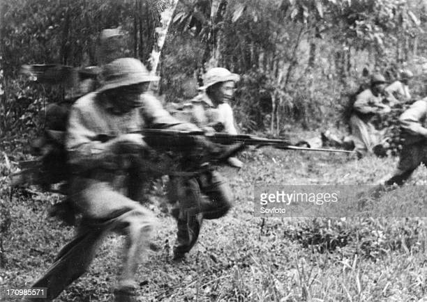 Tet offensive national front for the liberation of south vietnam viet cong soldiers charging the enemy in south vietnam 1968