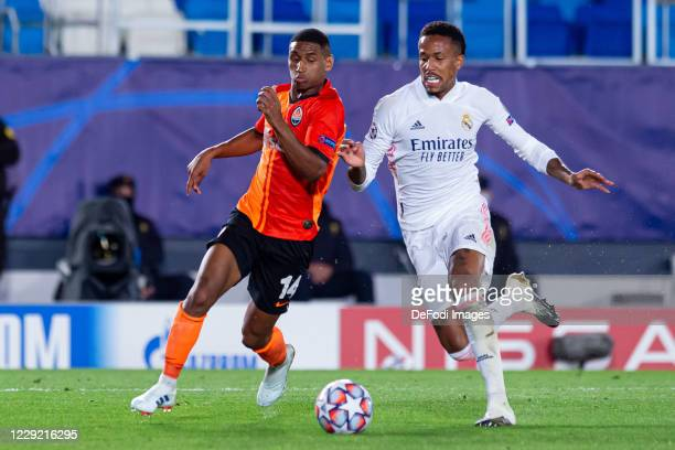 Tete of FC Shakhtar Donetsk and Eder Militao of Real Madrid battle for the ball during the UEFA Champions League Group B stage match between Real...