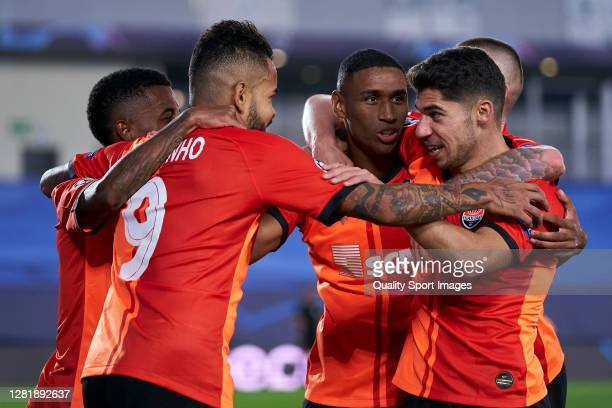Tete of Shakhtar Donetsk celebrates after scoring his team's first goal during the UEFA Champions League Group B stage match between Real Madrid and...