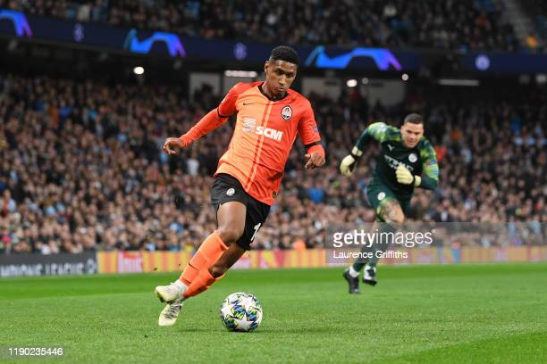 Tete of Shakhtar Donetsk runs with the ball towards goal following a mistake by Ederson of Manchester City during the UEFA Champions League group C...