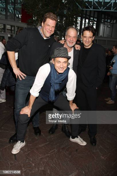 Tetje Mierendorf, Ralf Bauer, Marek Erhardt and Oliver Mommsen during the new year reception at Komoedie Winterthuder Fahrhaus on January 13, 2019 in...