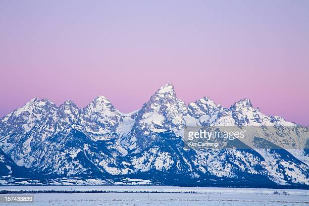 teton mountain range in winter - jackson hole stock pictures, royalty-free photos & images