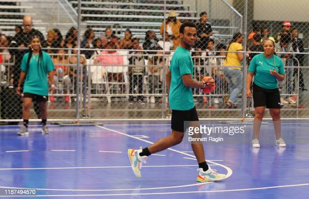 Tetona Jackson Jelani Winston and Perri Camper play in the 2019 BET Experience Celebrity Dodgeball Game at Staples Center on June 21 2019 in Los...