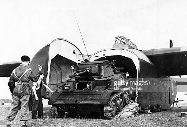 A 'Tetrach' coming out of a 'Hamilcar' cargo plane Great Britain October 1944