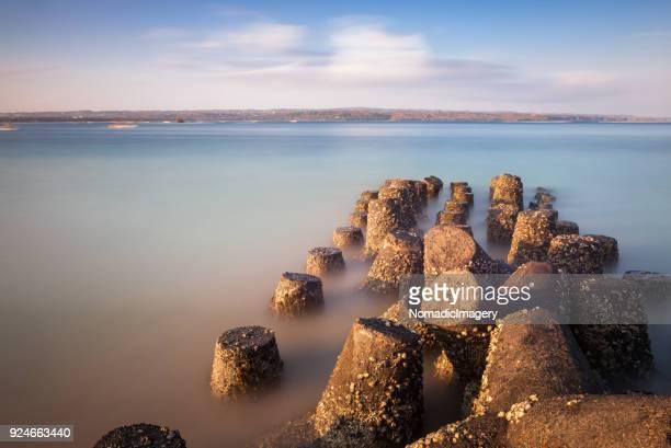 Tetrapods beautiful long exposure seascape image
