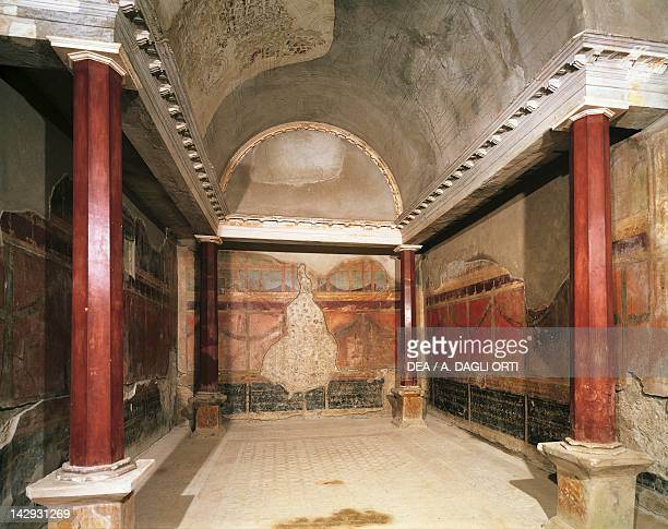 Tetrastyle oecus frescoed walls in the Third Pompeian Style House of the Silver Wedding Pompeii Campania Roman Civilization 1st Century