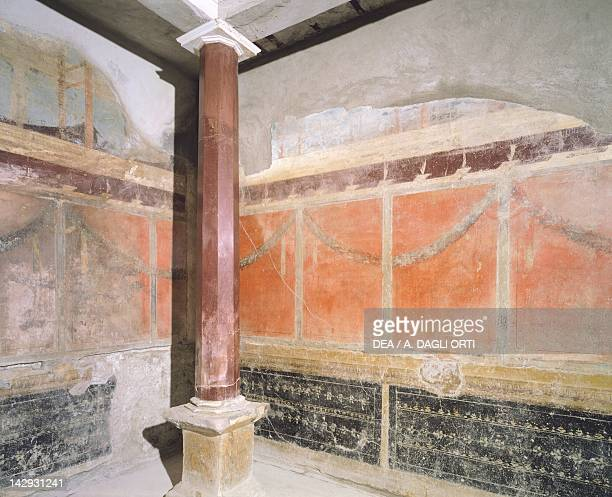 Tetrastyle oecus with walls decorated in the Third Pompeian Style House of the Silver Wedding Pompeii Campania Roman Civilization 1st Century