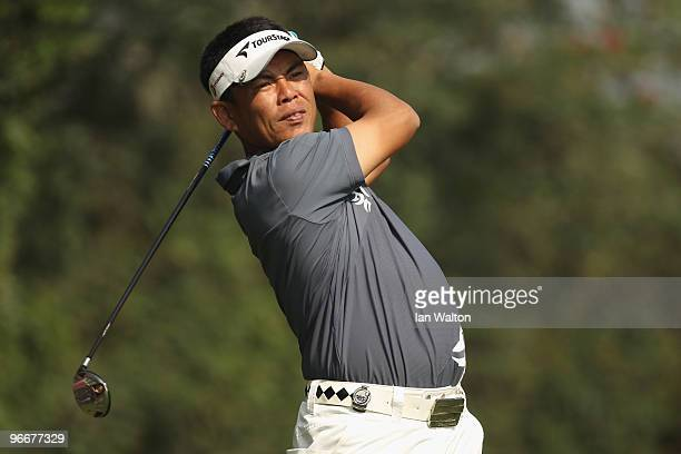 Tetsuji Hiratsuka of Japan plays a shot during the Final Round of the Avantha Masters held at The DLF Golf and Country Club on February 14, 2010 in...