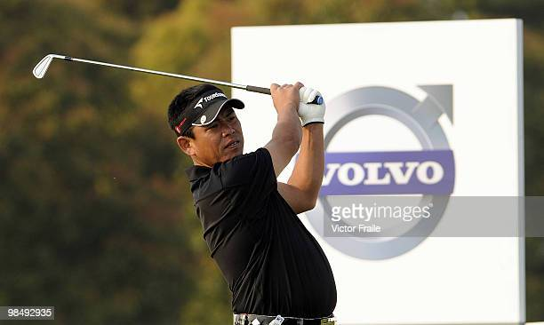 Tetsuji Hiratsuka of Japan tees off on the 17th hole during the Round Two of the Volvo China Open on April 16, 2010 in Suzhou, China.