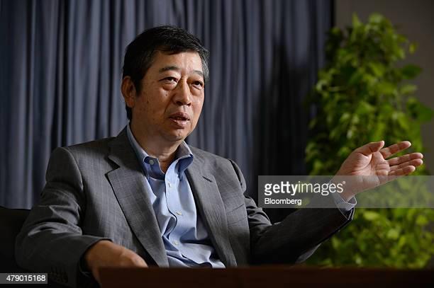 Tetsuji Ohashi president and chief executive officer of Komatsu Ltd speaks during an interview in Tokyo Japan on Thursday June 25 2015 Komatsu's...