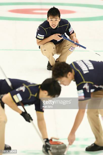Tetsuro Shimizu of SC Karuizawa looks on after he throws a stones during Game Two of the Curling Japan Qualifying Tournament between SC Karuizawa and...