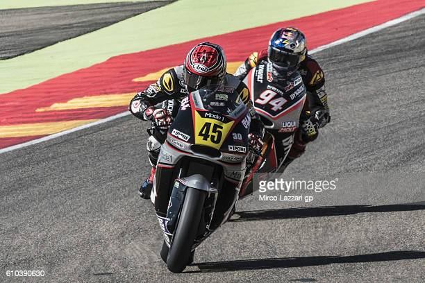 Tetsuta NAGASHIMA of Japan and Ajo Motorsport Academy leads the field during the Moto2 race during the MotoGP of Spain - Race at Motorland Aragon...