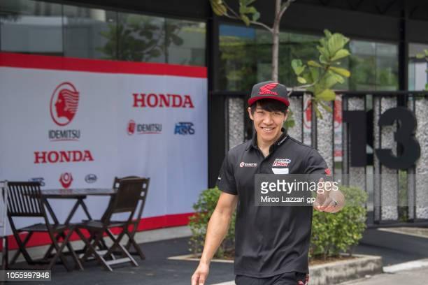 Tetsuta Nagashima of Japan and Idemitsu Honda Team Asia greets in paddock during the MotoGP Of Malaysia - Previews at Sepang Circuit on November 1,...