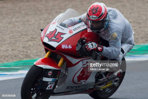 Tetsuta Nagashima of Japan and Idemitsu Honda Team Asia heads down a straight during the Moto2 Moto3 Tests In Jerez at Circuito de Jerez on March 8...