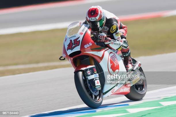 Tetsuta Nagashima of Japan and Idemitsu Honda Team Asia heads down a straight during the MotoGP Netherlands - Free Practice on June 29, 2018 in...