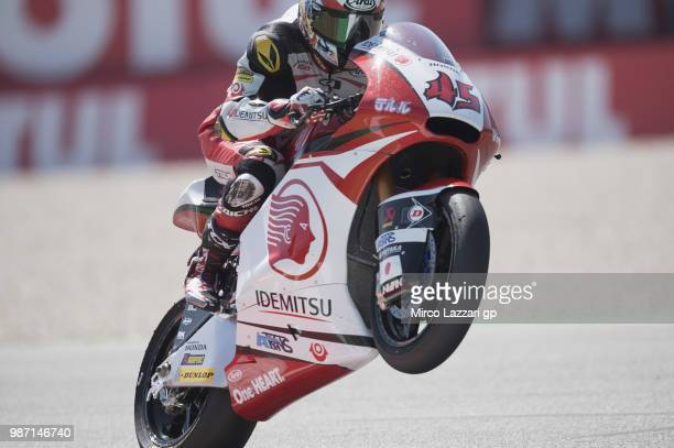 Tetsuta Nagashima of Japan and Idemitsu Honda Team Asia lifts the front wheel during the MotoGP Netherlands - Free Practice on June 29, 2018 in...