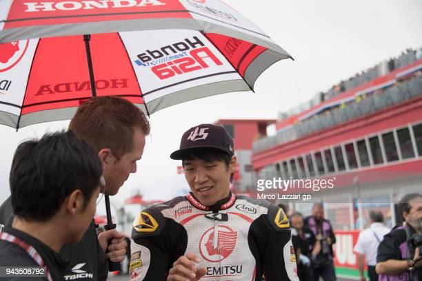 Tetsuta Nagashima of Japan and Idemitsu Honda Team Asia prepares to start on the grid during the Moto2 race during the MotoGp of Argentina - Race on...