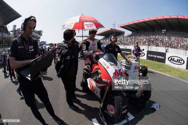 Tetsuta Nagashima of Japan and Idemitsu Honda Team Asia prepares to start on the grid during the Moto2 race during the MotoGp of France - Race on May...