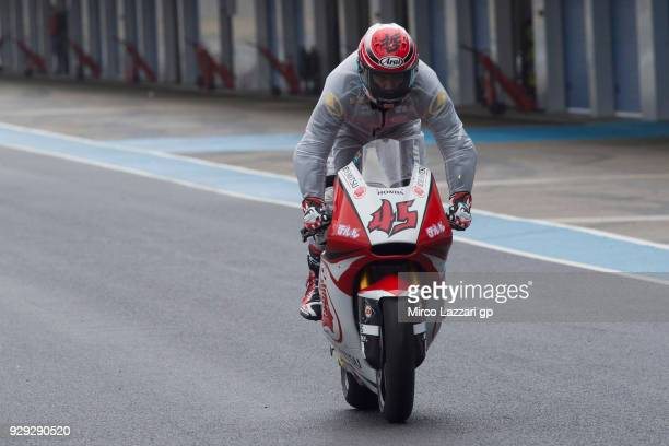 Tetsuta Nagashima of Japan and Idemitsu Honda Team Asia starts from box during the Moto2 Moto3 Tests In Jerez at Circuito de Jerez on March 8 2018 in...