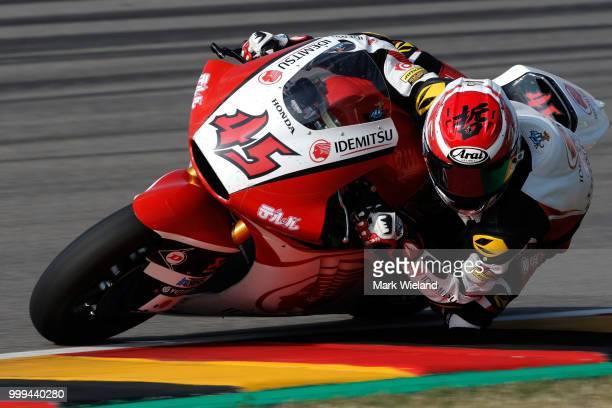 Tetsuta Nagashima of Japan and Idemitsu Honda Team in action during the MotoGP of Germany at Sachsenring Circuit on July 15, 2018 in...