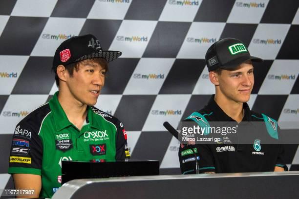 Tetsuta Nagashima of Japan and Onexox TKKR Sag Team and Fabio Quartararo of France and Petronas Yamaha SRT look on during the press conference at the...