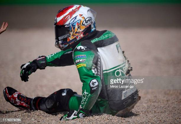 Tetsuta Nagashima of Japan and Onexox TKKR Sag Team crashed out during the Moto2 race during the MotoGp of Aragon - Race on September 22, 2019 in...