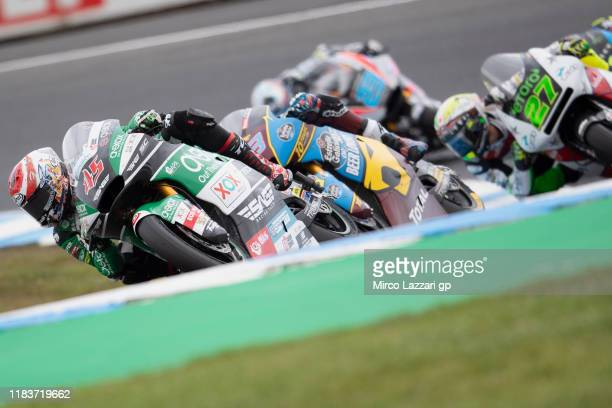 Tetsuta Nagashima of Japan and Onexox TKKR Sag Team leads the field during the Moto2 race during the 2019 MotoGP of Australia at Phillip Island Grand...