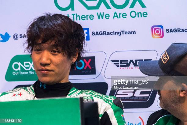 Tetsuta Nagashima of Japan and Onexox TKKR Sag Team looks on in box during the Moto2 & Moto3 Tests - Day Three at Losail Circuit on March 03, 2019 in...