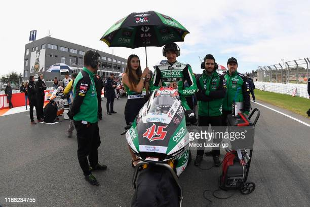 Tetsuta Nagashima of Japan and Onexox TKKR Sag Team prepares to start on the grid during the Moto2 race during the MotoGP Of Valencia - Race at...