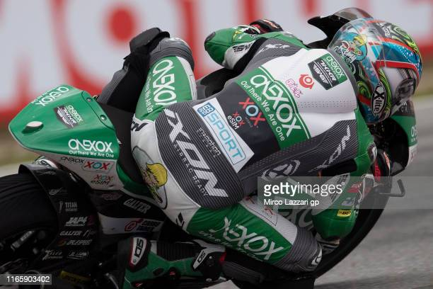 Tetsuta Nagashima of Japan and Onexox TKKR Sag Team rounds the bend during the MotoGp of Czech Republic - Qualifying at Brno Circuit on August 03,...