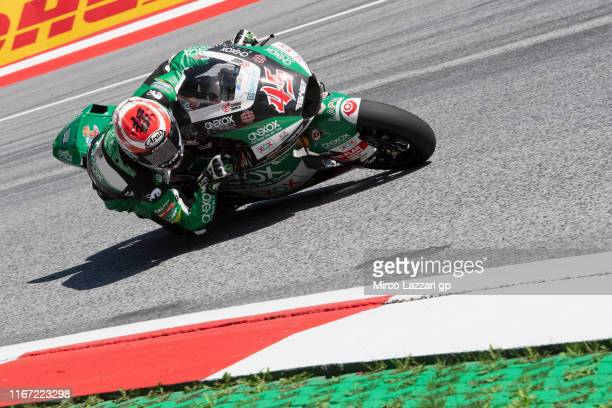 Tetsuta Nagashima of Japan and Onexox TKKR Sag Team rounds the bend during the MotoGp of Austria - Qualifying at Red Bull Ring on August 10, 2019 in...