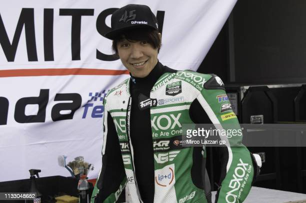 Tetsuta Nagashima of Japan and Onexox TKKR Sag Team smiles in paddock during Moto2 & Moto3 Tests - Day One at Losail Circuit on March 01, 2019 in...