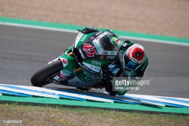 Tetsuta Nagashima of Japan and Onexox TKKR Sag Teamrounds the bend during the MotoGp of Spain - Free Practice at Circuito de Jerez on May 03, 2019 in...