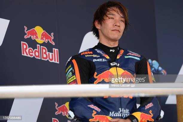 Tetsuta Nagashima of Japan and Red Bull KTM Ajo celebrates the second place on the podium at the end of the Moto2 race during the MotoGP of Spain -...