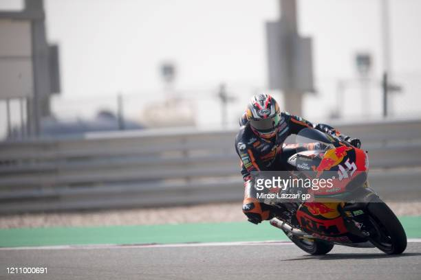 Tetsuta Nagashima of Japan and Red Bull KTM Ajo heads down a straight during the Moto2 & Moto3 GP Of Qatar - Qualifying at Losail Circuit on March...