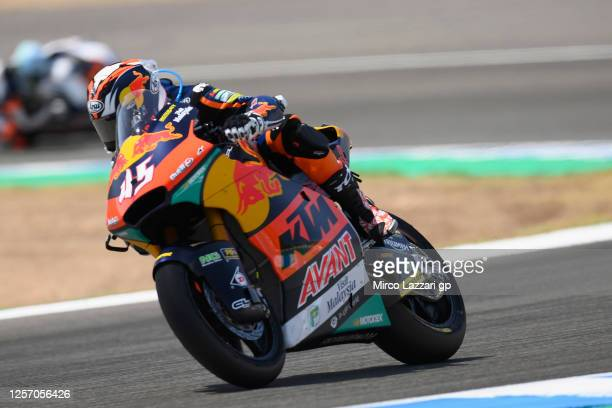 Tetsuta Nagashima of Japan and Red Bull KTM Ajo heads down a straight during the Moto2 race during the MotoGP of Spain - Race at Circuito de Jerez on...