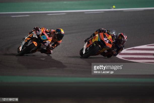 Tetsuta Nagashima of Japan and Red Bull KTM Ajo leads the field during the Moto2 race during the Moto2 & Moto3 GP Of Qatar - Race at Losail Circuit...