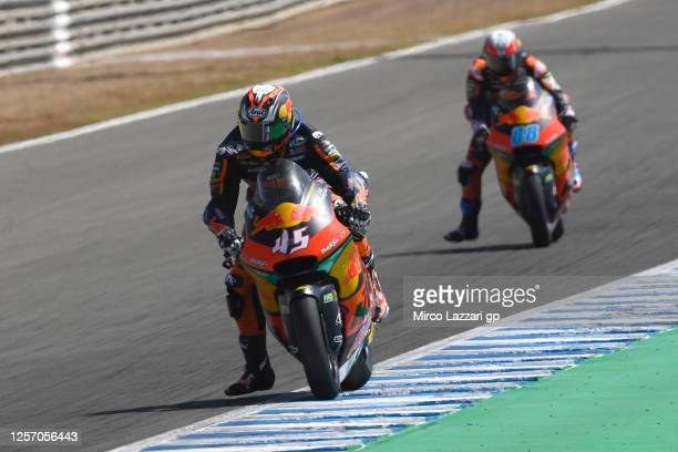 Tetsuta Nagashima of Japan and Red Bull KTM Ajo leads the field during the Moto2 race during the MotoGP of Spain - Race at Circuito de Jerez on July...