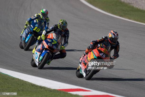 Tetsuta Nagashima of Japan and Red Bull KTM Ajo leads the field during the MotoGP of Catalunya: Qualifying during qualifying for the MotoGP of...