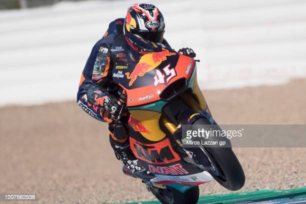 Tetsuta Nagashima of Japan and Red Bull KTM Ajo lifts the front wheel during the Moto2 And Moto3 Tests In Jerez at Circuito de Jerez on February 20,...