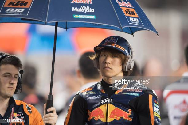 Tetsuta Nagashima of Japan and Red Bull KTM Ajo prepares on the grid during the Moto2 race during the Moto2 & Moto3 GP Of Qatar - Race at Losail...