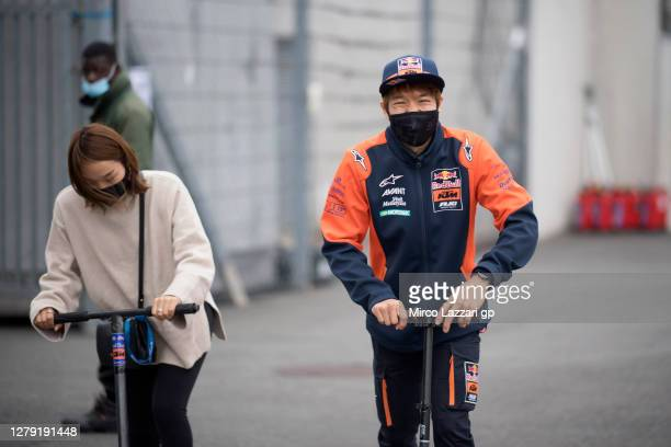 Tetsuta Nagashima of Japan and Red Bull KTM Ajo rides in paddock during the press conference pre-event during the MotoGP of France: Previews at...