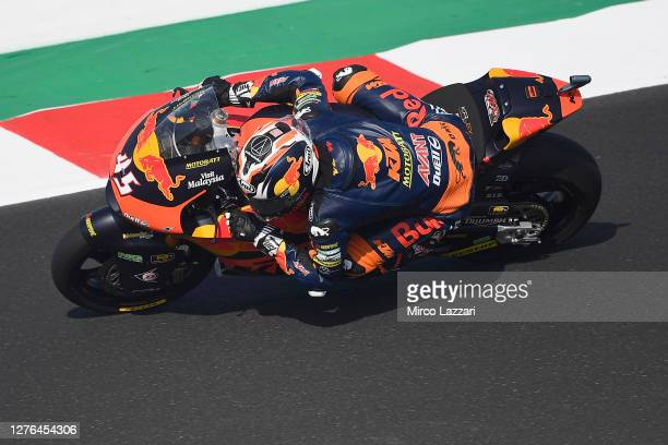 Tetsuta Nagashima of Japan and Red Bull KTM Ajo rounds the bend during the MotoGP Of San Marino - Free Practice at Misano World Circuit on September...
