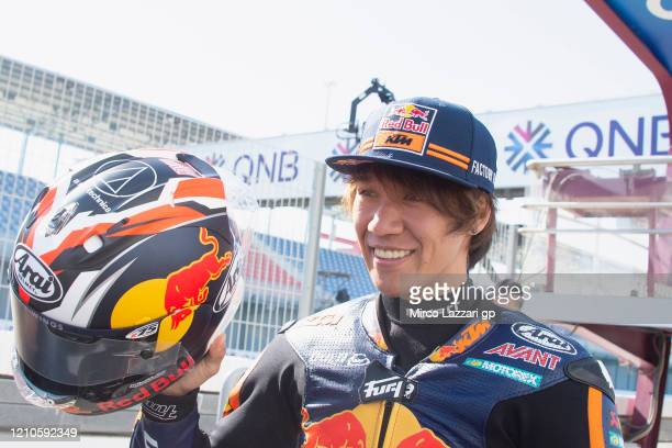 Tetsuta Nagashima of Japan and Red Bull KTM Ajo smiles in pit during the Moto2 & Moto3 GP Of Qatar - Previews at Losail Circuit on March 05, 2020 in...