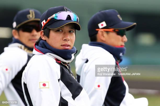 Tetsuto Yamada of Japan in action during SAMURAI JAPAN's training camp at the Sun Marine Stadium Miyazaki on February 26 2017 in Miyazaki Japan