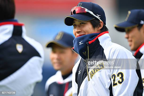 Tetsuto Yamada of Japan looks on during the Japan national baseball team practice session at the QVC on November 8 2016 in Tokyo Japan