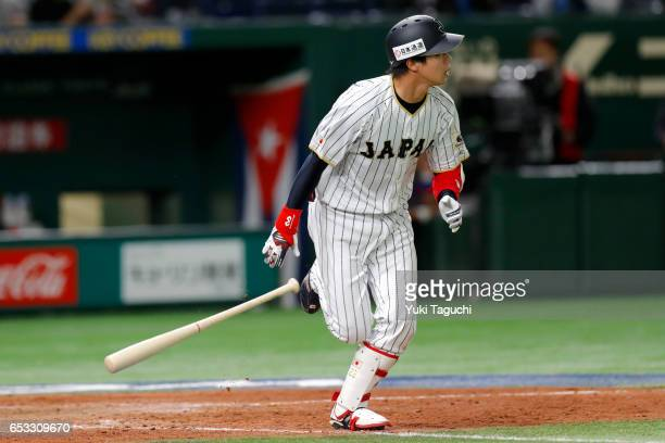 Tetsuto Yamada of Team Japan hits a tworun home run in the eighth inning during Game 4 of Pool E of the 2017 World Baseball Classic against Team Cuba...