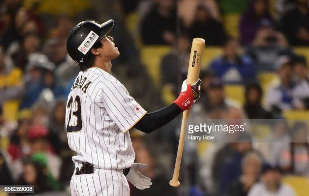 Tetsuto Yamada of team Japan reacts to striking out in the sixth inning against team United States during Game 2 of the Championship Round of the...