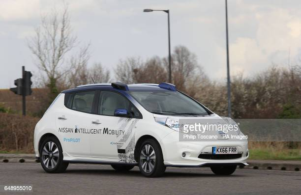 Tetsuya Lijima from Nissan giving a demonstration around the roads of east London of a prototype Nissan Leaf driverless car